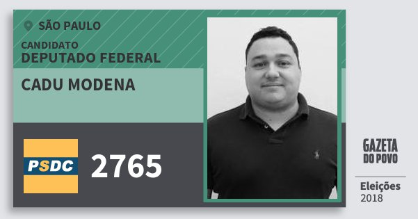 Santinho Cadu Modena 2765 (DC) Deputado Federal | São Paulo | Eleições 2018