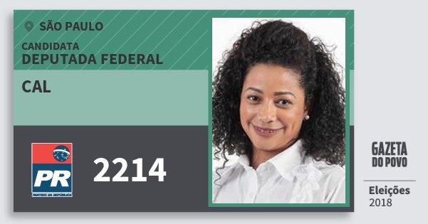 Santinho Cal 2214 (PR) Deputada Federal | São Paulo | Eleições 2018