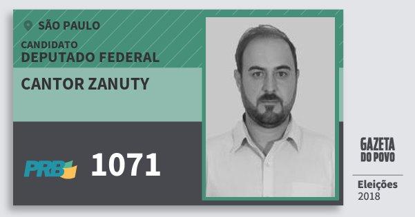 Santinho Cantor Zanuty 1071 (PRB) Deputado Federal | São Paulo | Eleições 2018