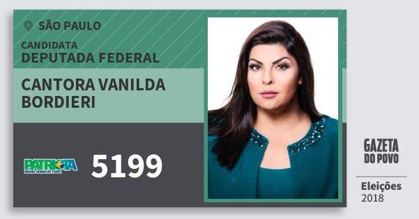 Santinho Cantora Vanilda Bordieri 5199 (PATRI) Deputada Federal | São Paulo | Eleições 2018