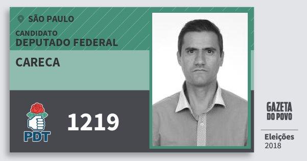Santinho Careca 1219 (PDT) Deputado Federal | São Paulo | Eleições 2018