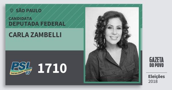 Santinho Carla Zambelli 1710 (PSL) Deputada Federal | São Paulo | Eleições 2018