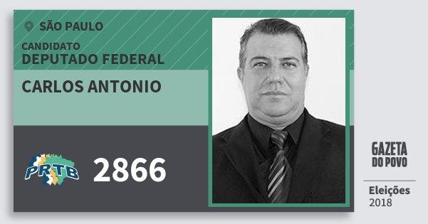 Santinho Carlos Antonio 2866 (PRTB) Deputado Federal | São Paulo | Eleições 2018