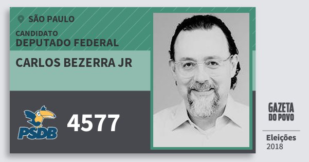 Santinho Carlos Bezerra Jr 4577 (PSDB) Deputado Federal | São Paulo | Eleições 2018