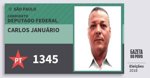 Santinho Carlos Januário 1345 (PT) Deputado Federal | São Paulo | Eleições 2018
