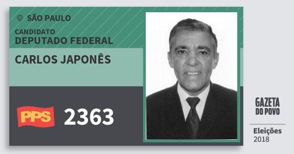 Santinho Carlos Japonês 2363 (PPS) Deputado Federal | São Paulo | Eleições 2018