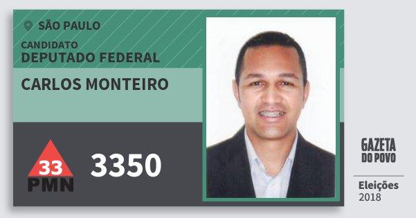 Santinho Carlos Monteiro 3350 (PMN) Deputado Federal | São Paulo | Eleições 2018