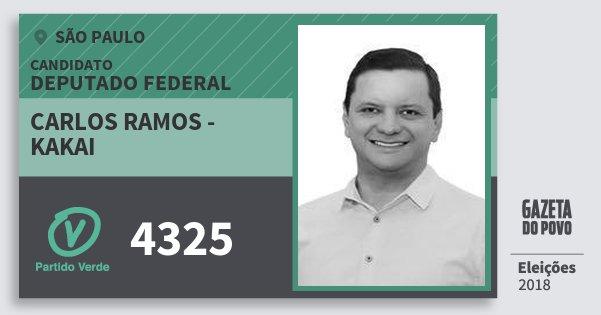 Santinho Carlos Ramos - Kakai 4325 (PV) Deputado Federal | São Paulo | Eleições 2018