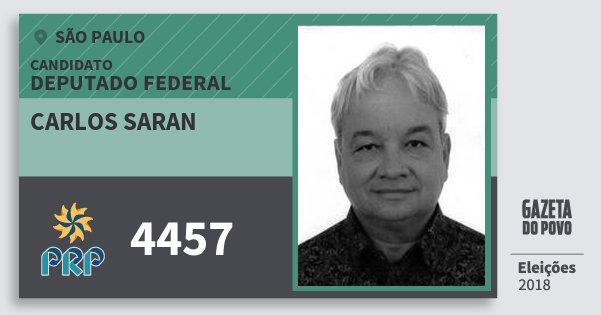 Santinho Carlos Saran 4457 (PRP) Deputado Federal | São Paulo | Eleições 2018