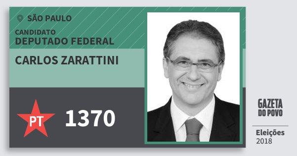 Santinho Carlos Zarattini 1370 (PT) Deputado Federal | São Paulo | Eleições 2018