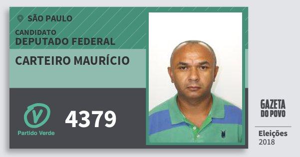 Santinho Carteiro Maurício 4379 (PV) Deputado Federal | São Paulo | Eleições 2018