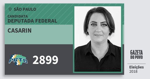 Santinho Casarin 2899 (PRTB) Deputada Federal | São Paulo | Eleições 2018