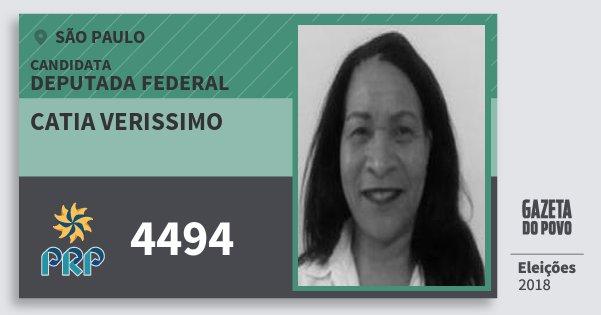 Santinho Catia Verissimo 4494 (PRP) Deputada Federal | São Paulo | Eleições 2018