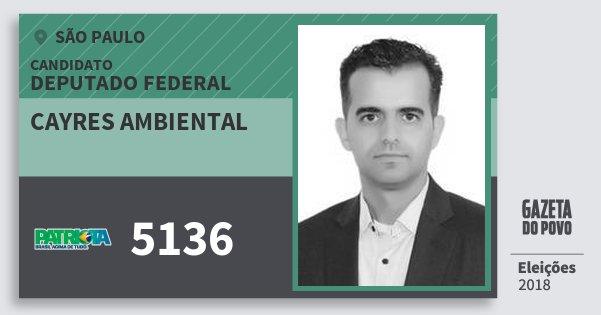 Santinho Cayres Ambiental 5136 (PATRI) Deputado Federal | São Paulo | Eleições 2018