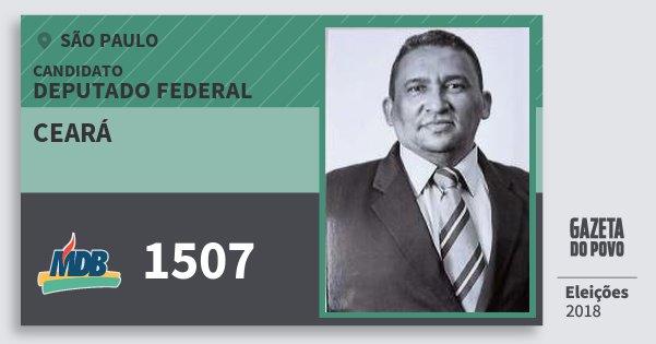 Santinho Ceará 1507 (MDB) Deputado Federal | São Paulo | Eleições 2018