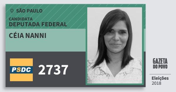 Santinho Céia Nanni 2737 (DC) Deputada Federal | São Paulo | Eleições 2018