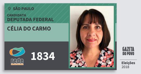 Santinho Célia do Carmo 1834 (REDE) Deputada Federal | São Paulo | Eleições 2018