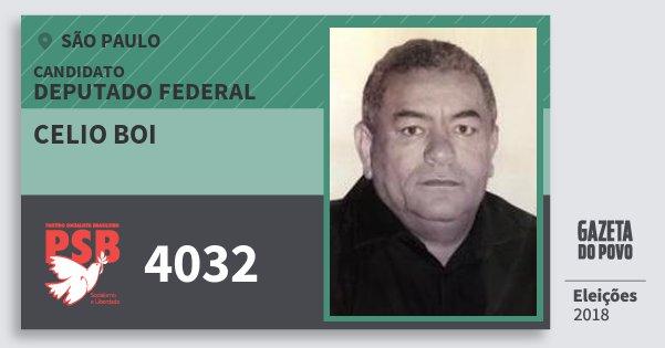 Santinho Celio Boi 4032 (PSB) Deputado Federal | São Paulo | Eleições 2018