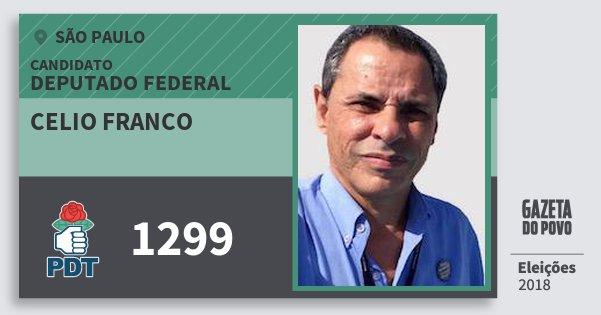 Santinho Celio Franco 1299 (PDT) Deputado Federal | São Paulo | Eleições 2018