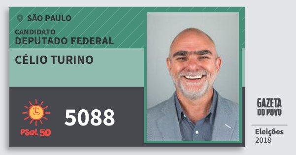 Santinho Célio Turino 5088 (PSOL) Deputado Federal | São Paulo | Eleições 2018
