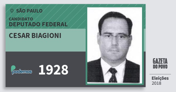 Santinho Cesar Biagioni 1928 (PODE) Deputado Federal | São Paulo | Eleições 2018