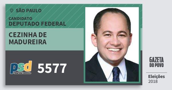 Santinho Cezinha de Madureira 5577 (PSD) Deputado Federal | São Paulo | Eleições 2018