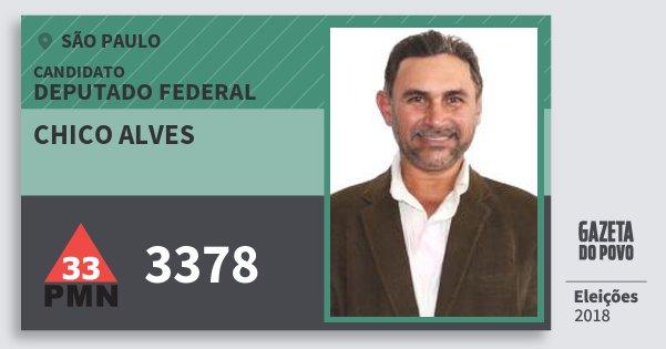 Santinho Chico Alves 3378 (PMN) Deputado Federal | São Paulo | Eleições 2018