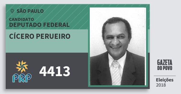 Santinho Cícero Perueiro 4413 (PRP) Deputado Federal | São Paulo | Eleições 2018