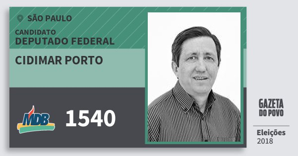 Santinho Cidimar Porto 1540 (MDB) Deputado Federal | São Paulo | Eleições 2018