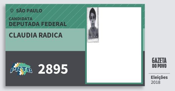 Santinho Claudia Radica 2895 (PRTB) Deputada Federal | São Paulo | Eleições 2018