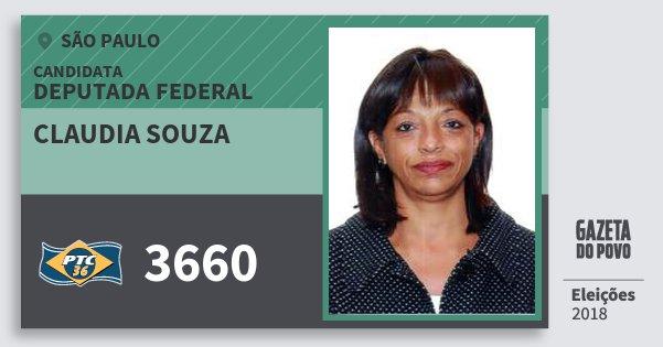 Santinho Claudia Souza 3660 (PTC) Deputada Federal | São Paulo | Eleições 2018