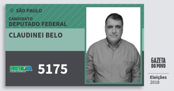 Santinho Claudinei Belo 5175 (PATRI) Deputado Federal | São Paulo | Eleições 2018