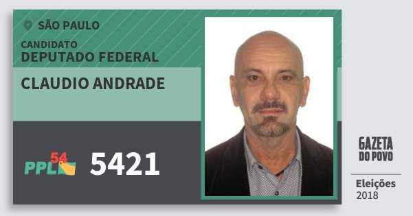 Santinho Claudio Andrade 5421 (PPL) Deputado Federal | São Paulo | Eleições 2018