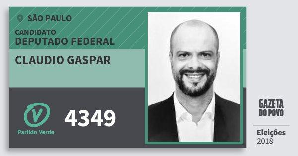 Santinho Claudio Gaspar 4349 (PV) Deputado Federal | São Paulo | Eleições 2018