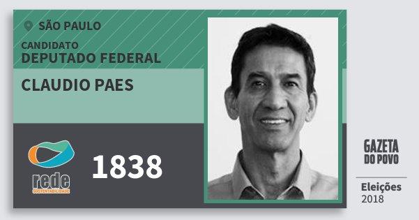Santinho Claudio Paes 1838 (REDE) Deputado Federal | São Paulo | Eleições 2018