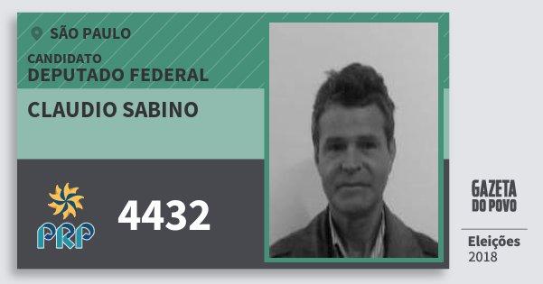 Santinho Claudio Sabino 4432 (PRP) Deputado Federal | São Paulo | Eleições 2018
