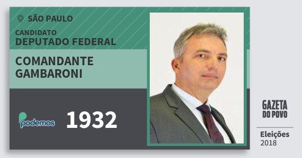 Santinho Comandante Gambaroni 1932 (PODE) Deputado Federal | São Paulo | Eleições 2018