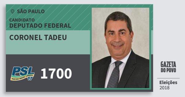 Santinho Coronel Tadeu 1700 (PSL) Deputado Federal | São Paulo | Eleições 2018