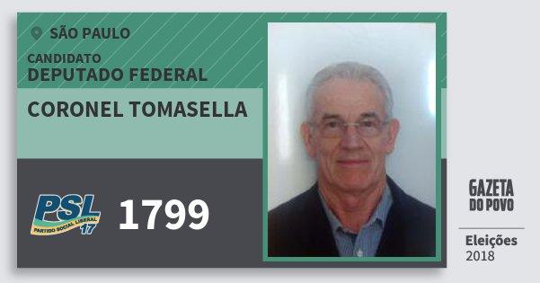 Santinho Coronel Tomasella 1799 (PSL) Deputado Federal | São Paulo | Eleições 2018