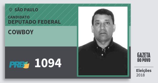 Santinho Cowboy 1094 (PRB) Deputado Federal | São Paulo | Eleições 2018
