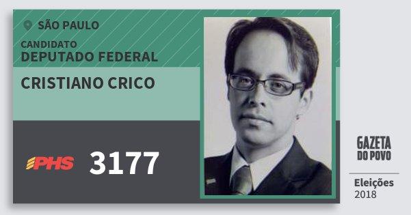 Santinho Cristiano Crico 3177 (PHS) Deputado Federal | São Paulo | Eleições 2018