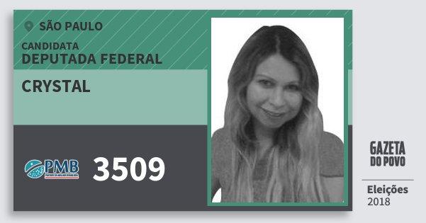 Santinho Crystal 3509 (PMB) Deputada Federal | São Paulo | Eleições 2018