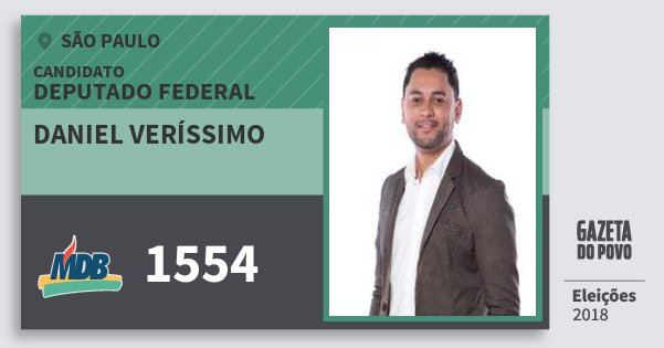 Santinho Daniel Veríssimo 1554 (MDB) Deputado Federal | São Paulo | Eleições 2018