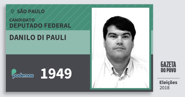 Santinho Danilo di Pauli 1949 (PODE) Deputado Federal | São Paulo | Eleições 2018