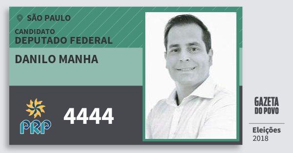 Santinho Danilo Manha 4444 (PRP) Deputado Federal | São Paulo | Eleições 2018