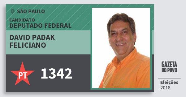 Santinho David Padak Feliciano 1342 (PT) Deputado Federal | São Paulo | Eleições 2018