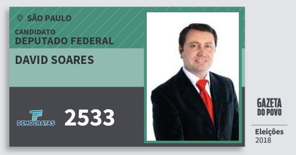 Santinho David Soares 2533 (DEM) Deputado Federal | São Paulo | Eleições 2018