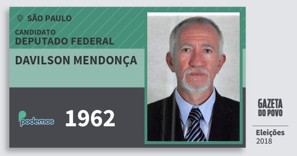 Santinho Davilson Mendonça 1962 (PODE) Deputado Federal | São Paulo | Eleições 2018
