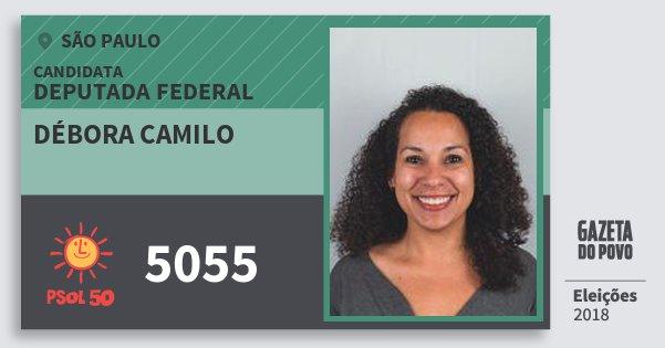 Santinho Débora Camilo 5055 (PSOL) Deputada Federal | São Paulo | Eleições 2018
