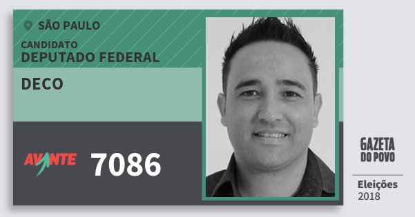 Santinho Deco 7086 (AVANTE) Deputado Federal | São Paulo | Eleições 2018